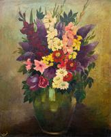 Large 19th Century French Farmhouse Impressionist Still Life Floral Oil Painting Signed (2 of 12)