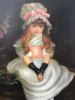 """19th Century Victorian Oil Painting Young Girl Silk White Dress """"Cherry Ripe"""" Portrait After Sir John Everett Millais (2 of 12)"""