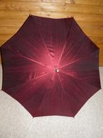 Vintage Hand Carved Handled Umbrella With Burgundy Canopy & Tassel (3 of 13)
