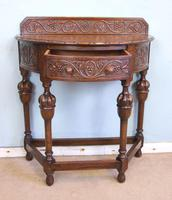 Antique Jacobean Style Carved Oak Demi Lune Side Table (8 of 8)