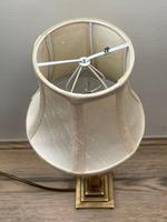 Antique Edwardian Table Brass Lamp Lighting With Shade (8 of 25)