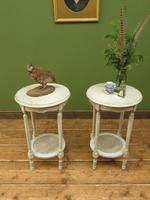 Pair of Round Gustavian Shabby Chic bedside Tables, White & Grey (12 of 12)
