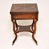 Antique Victorian Inlaid  Rosewood Envelope Card Table (4 of 12)