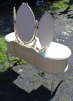 1960s White Dressing Table with Triple Mirror & Glass Top (4 of 4)
