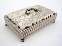 Antique Dutch Silver Jewellery Box Engraved with Farm Scenes (4 of 6)