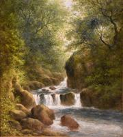 """Oil Painting Pair by William Ward Gill """"Falls at the Head of Loch Lomond"""" (3 of 8)"""