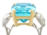 25.23ct Aquamarine & 3.40ct Diamond, Platinum Dress Ring - Vintage c.1950 (2 of 9)