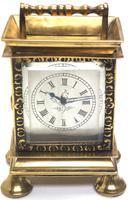 Rare Little Verge Carriage Clock Timepiece, Ormolu cased Silver Dial Mantel Clock (8 of 9)