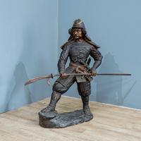 Large 20th Century Bronze Japanese Samurai Statue