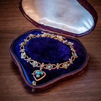Antique Victorian Turquoise Heart Forget Me Not Bracelet 9ct Gold With Box c 1880 (5 of 9)