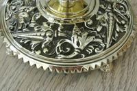 Fine Aesthetic Movement Desk Set Brass Inkwell & Brass Candlesticks c.1880 (4 of 11)