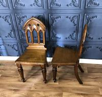 Pair of Victorian Gothic Style Hall Chairs (7 of 13)
