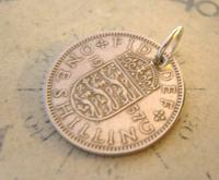Vintage Pocket Watch Chain Fob 1957 Lucky Silver One Shilling Old 5d Coin Fob (7 of 8)