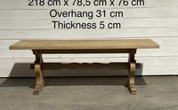 Bleached Oak French Trestle End Farmhouse Dining Table (4 of 28)