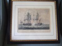 """19th Century Aquatint of """"The Capture of La Proserpine - June 13th 1796"""" Dated 1816, from Jenkins """"Naval Achievements of Great Britain"""""""