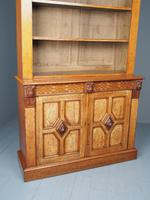 Antique Victorian Golden Oak Open Bookcase (13 of 20)