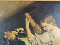 'The Lute Player' 20th Century Oil on Canvas (4 of 7)