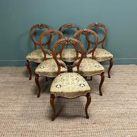 Elegant Set of 6 Victorian Walnut Antique Dining Chairs (5 of 9)