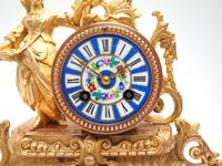 Stunning Complete French Mantel Clock Under Dome with Base Figural Sevres Mantle Clock. (8 of 10)