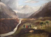 Folk Art. Oil Painting. The Falls of Ogwen. North Wales 1840