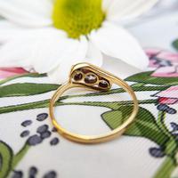 Antique Art Deco 18ct Gold & Diamond Three Stone Bypass Ring (7 of 7)