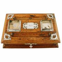 Victorian Oak Inkwell Stand (4 of 7)