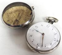 Antique Silver Pair of Case Pocket Watch Fusee Verge Escapement Key Wind Enamel Dial Thomas Cooker Oakham (12 of 12)
