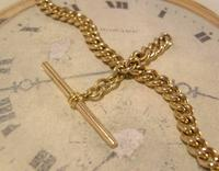 Antique Pocket Watch Chain 1890 Victorian 12ct Rose Gold Filled Albert With T Bar (5 of 12)