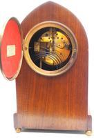 Incredible French Inlaid Lancet Mantel Clock Multi Wood Inlay 8 Day Striking Mantle Clock (10 of 10)