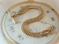 Pocket Watch Chain 1930s 12ct Rose Rolled Gold Double Albert With T Bar (2 of 12)