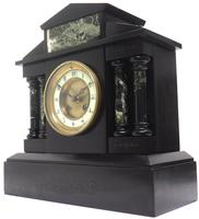 Antique French Slate & Green Marble Mantel Clock Striking 8-day (4 of 9)