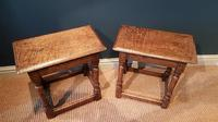 Matching Pair of Antique Oak Joint Stools (6 of 7)