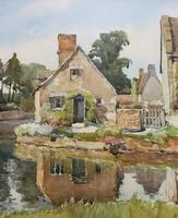 Gorgeous Early 20th Century Country River Hamlet British Landscape Watercolour Painting (4 of 12)