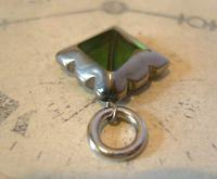 Vintage Pocket Watch Chain Fob 1950s Victorian Revival Chrome & Green Glass Fob (4 of 4)