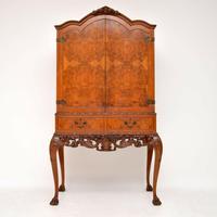 Antique Queen Anne Style Burr Walnut Cocktail Cabinet (2 of 11)