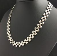 Antique Victorian Silver Collar Necklace, Brick Link (6 of 12)