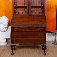 Secretaire Bureau Bookcase Astragal Glazed Mahogany Library Cabinet Edwardian (9 of 14)
