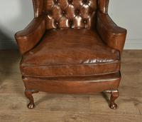 Antique Pair of Leather Chesterfield Wing Chairs (5 of 5)