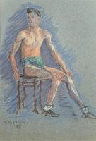 Russian School? Superb 1952 Signed Charcoal Portrait Sketch A Male Model Dancer (2 of 10)