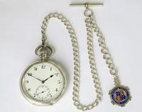 Antique Swiss Silver Pocket Watch & Chain (2 of 7)
