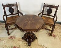 Antique Breton Side Table with Rush Seats (3 of 15)