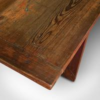 Large 12' Antique Kitchen Table, English, Pine, Industrial, Victorian, 1900 (12 of 12)