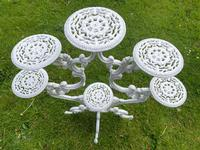 Victorian 19th Century Garden Cast Iron Painted White 6 Branch Plant Stand (9 of 47)