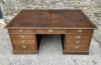 Huge Antique Victorian Oak Partners Desk (3 of 24)
