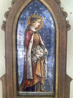 Antique Gothic Framed Enamel of St Elisabetha of Hungary Carrying Roses (4 of 11)