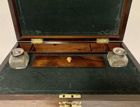 Superb Antique Rosewood Brass Inlaid Writing Slope Box with Double Hinge (4 of 12)