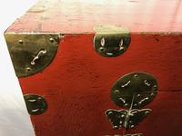 Pair of Late Qing Antique Chinese Dowry Marriage Wedding Brass Bound Red Lacquer Chests (2 of 54)