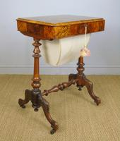 Beautiful Victorian Burr Walnut Sewing Table (4 of 8)