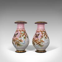 Antique Pair of Peony Vases, French, Decorative Ceramic Urn, Victorian c.1890 (4 of 12)