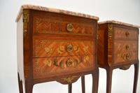 Pair of Antique French Inlaid Marble Top Bedside Chests (3 of 12)